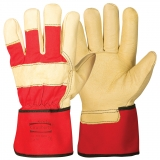 Pig Grain Leather with Rubberised Cuff, Winter Lined Work Winter Gloves