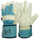 A Grade Cow Grain Leather with Rubberised Cuff, Winter Lined Work Winter Gloves
