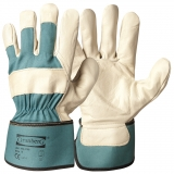 A Grade Cow Grain Leather with Rubberised Cuff, Palm Lined Work Gloves