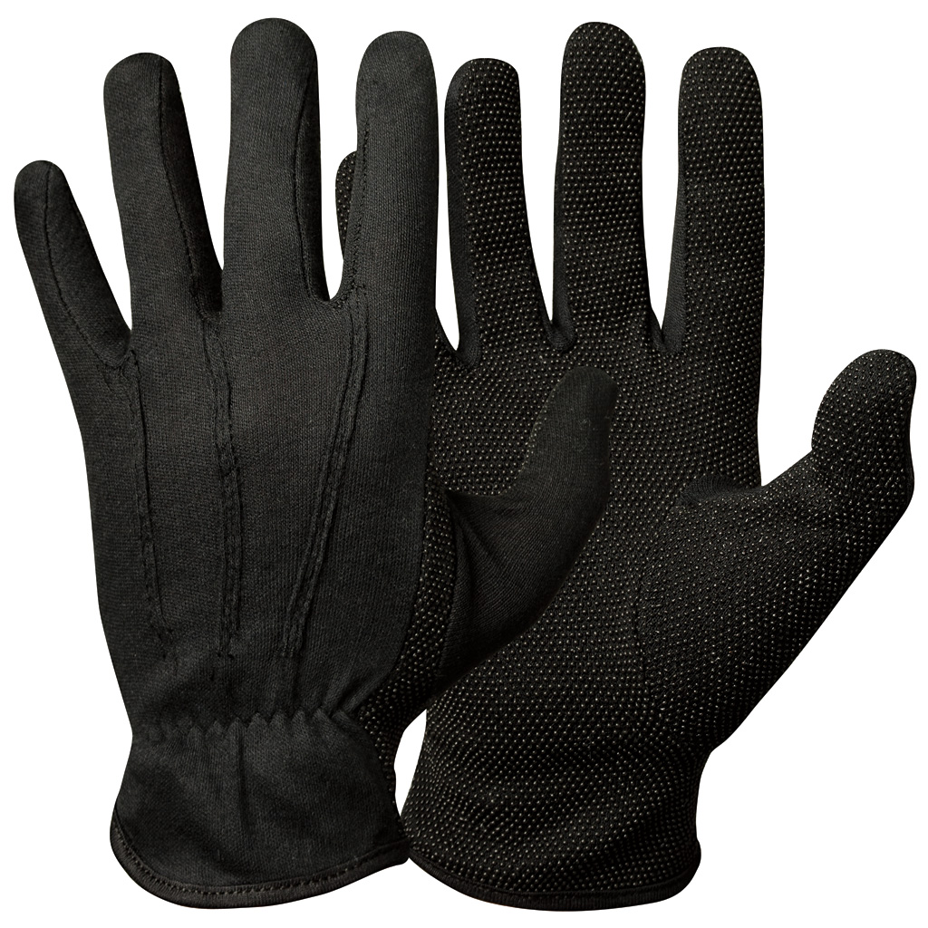 Black cotton gloves for eczema - Vinyl Pvc Microdots Cotton Gloves