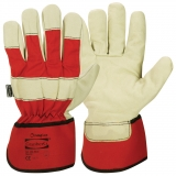Pig Grain Leather with Rubberised Cuff, Palm Lined Work Gloves